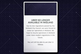 A screenshot of the Uber app in Midland, provided by Public Information Officer Sara Bustilloz.