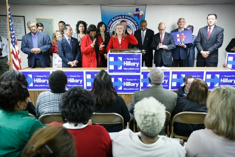 Texas State Senator Silvia Garcia speaks at the opening of the Hillary Clinton campaign headquarters in Houston on Thursday, February 4, 2016.