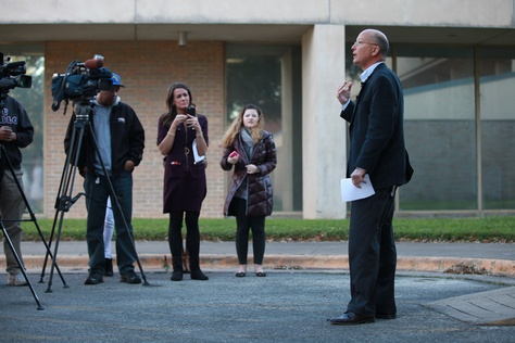 Epidemiologist Senior Jeffery Taylor of Austin/Travis Country Health and Human Services speaks to the media follwing one Zika virus case confirmation in Austin on February 4, 2016.
