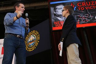 Texas Sen. and Republican presidential candidate Ted Cruz held a town hall meeting at the Peterborough Town Hall on Sunday, Feb. 7, 2016. He brought Hank Suprun, 9, of Dallas, up to ask his question. Suprun and his family made a special trip to New Hampshire to learn more about the primary.