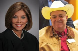 Eva Guzman (left) is being challenged by Joe Pool Jr. in a Republican matchup for Texas Supreme Court Justice Place 9.