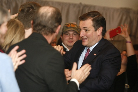 Republican Presidential Candidate and Texas Sen. Ted Cruz speaks with supporters in Hollis, New Hampshire after his third place finish in the primary on Feb. 9, 2016.