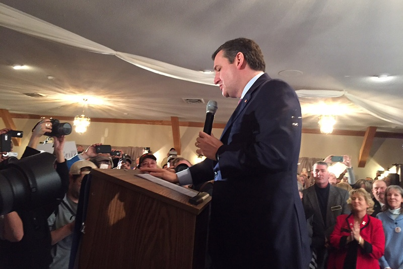 U.S. Sen. Ted Cruz speaks to supporters in Hollis, New Hampshire, after an apparent third-place showing in the state's Republican presidential primary on Feb. 9, 2016.