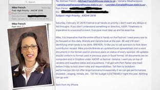 An email from state Rep. Dawnna Dukes to members of her staff. The email provides instructions for work her staff must complete before the upcoming African American Community Heritage Festival.