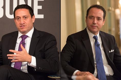 State. Rep. Trey Martinez Fischer (l) and state Sen. José Menéndez