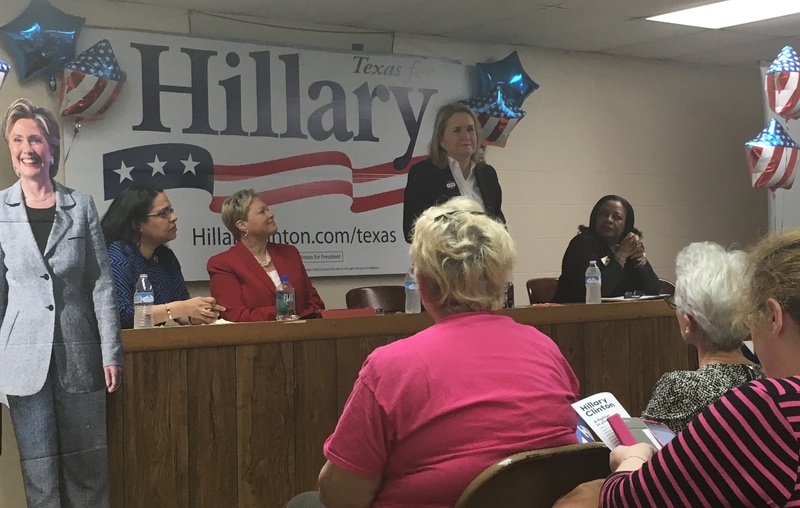State Sen. Sylvia Garcia, D-Houston, speaks to a crowd of Hillary Clinton volunteers at a panel discussion on women's health issues at the campaign's Houston headquarters on Sunday.