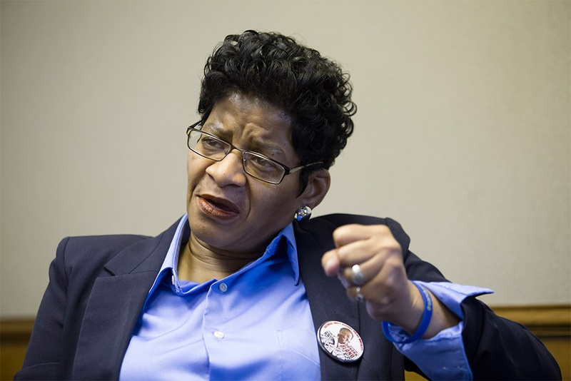 Sandra Bland's mother, Geneva Reed-Veal, before a hearing in federal court on Feb. 8, 2016, regarding her wrongful death lawsuit in Houston