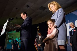 Senator Ted Cruz takes a moment of silence to respect the late Justice Antonin Scalia during his event in Columbia following the South Carolina Republican presidential primary, Saturday night, February 20, 2016.
