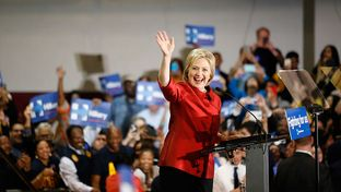 Hillary Clinton greets supporters at Texas Southern University in Houston Saturday, February 20, 2016, after winning the Nevada caucus.