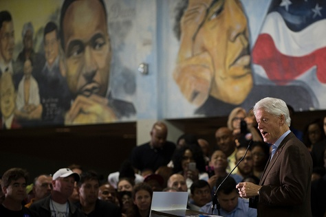 Former President Bill Clinton at a rally for current presidential candidate Hillary Clinton at Paul Quinn College in Dallas, Texas on Feb. 22, 2016.