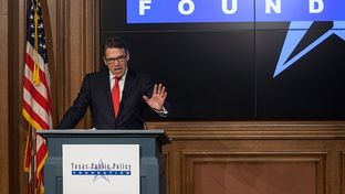 Former Gov. Rick Perry speaks at the Texas Public Policy Foundation in Austin hours after the state's highest criminal court dismissed the remaining indictment against him in a case related to a veto threat against the Travis County district attorney.