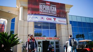 Preparations are made for the 2016 republican Presidential debate Wednesday Feb. 24, 2016 in Houston at the University of Houston.