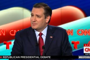Ted Cruz at the GOP debate on the campus of the University of Houston on Feb. 25, 2016.