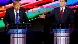 Presidential candidates Donald Trump and U.S. Sen. Ted Cruz at the GOP debate in Houston, Texas on Feb. 25, 2016.