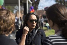 State Rep. Dawnna Dukes, D-Austin, speaks with media following the presentation of a $15,000 scholarship donation to Huston-Tillotson University at the African American Heritage Festival on the University campus in Austin, TX on Feb. 27, 2016.