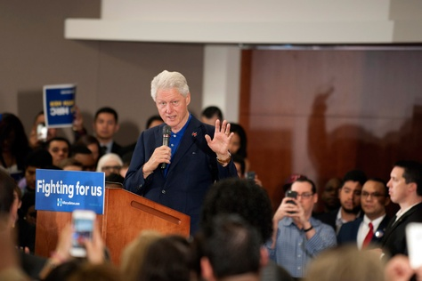 Bill Clinton at a rally held at Fort Worth's Tarrant County College on Feb. 29. Clinton came to Fort Worth to rally for his wife, Hillary Clinton.