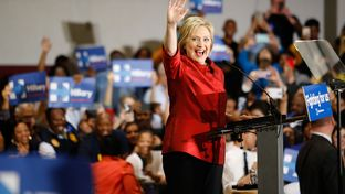 Hillary Clinton greets supporters at Texas Southern University in Houston on Feb. 20, 2016, after winning the Nevada caucus.