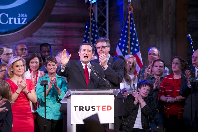 Sen. Ted Cruz gives victory speech at his election night party in Stafford, Texas March 1, 2016