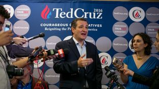 Ted Cruz campaigns in San Antonio a day ahead of Super Tuesday, Feb 29, 2016.