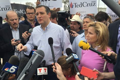 GOP presidential candidate Ted Cruz spoke to reporters on March 1, 2016, in Houston after voting in the Texas primary.