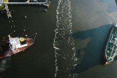 Oil tankers in the Houston Ship Channel on November 10, 2015.