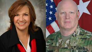 "State Rep. Molly S. White, R-Belton, and Major General James K. ""Red"" Brown Jr."