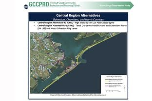 "A map in the Gulf Coast Community Protection and Recovery District's latest report shows the ""coastal spine"" (yellow) and a new proposal for a levee system (purple)"