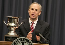 Gov. Greg Abbott accepts Site Selection's 2015 Governor's Cup Award on behalf of the State of Texas on March 9th, 2016