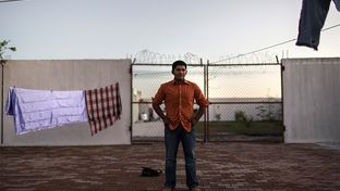 Marcus Francisco Valencia Rodriguez, 19 years old, in the courtyard at the Casa del Migrante migrant shleter in Matamoros, Mexico, on Nov. 2, 2015.