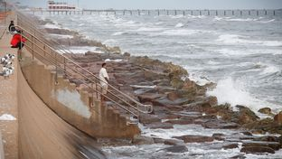 The beginning of the seawall on the western edge of Galveston, Feb 14, 2016.