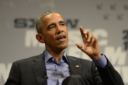 U.S. President Barack Obama visits Austin, Texas speaking with Texas Tribune CEO and Editor-in-Chief Evan Smith during a keynote at South by Southwest (SXSW) on March 11, 2016.