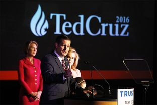 Ted Cruz on stage at his election night party on March 15, 2016, in Houston.