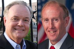 Republicans Wayne Christian (left), and Gary Gates (right) are facing off in a May 24 primary runoff for Texas railroad commissioner.