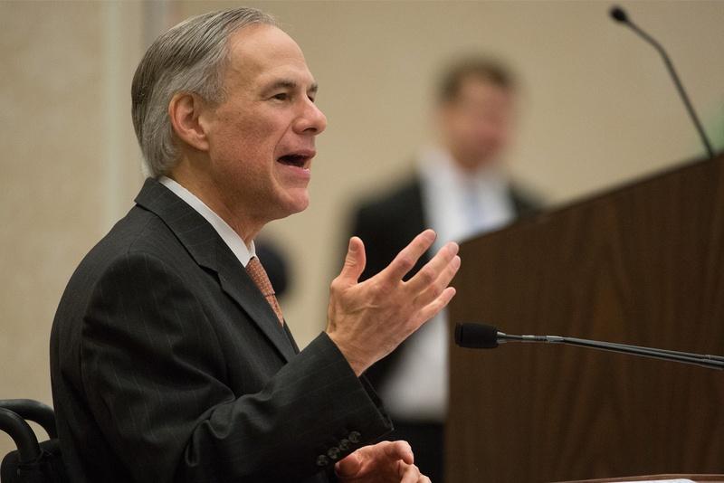 Texas Gov. Greg Abbott speaks during a Rotary Club of San Antonio luncheon on March 23, 2016.