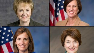 Clockwise from upper left: U.S. Reps. Kay Granger of Texas, Mimi Walters of California,  Cathy McMorris Rodgers of Washington, and Martha McSally of Arizona, all Republicans.