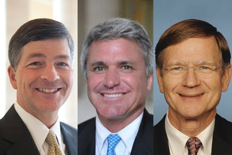 From left to right: Republican U.S. Reps. Jeb Hensarling of Dallas, Michael McCaul of Austin and Lamar Smith of Austin.