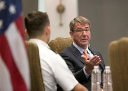 U.S Secretary of Defense is Ashton Carter, visits the University of Texas at Austin where he held a discussion with students on March 31, 2016