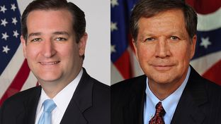 U.S. Sen. Ted Cruz (l) and Ohio Gov. John Kasich