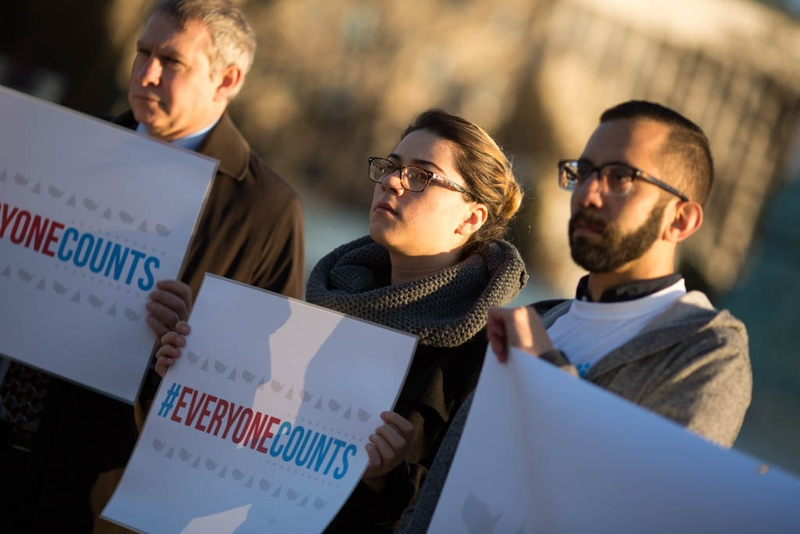 Tatiana Suriano (center) and Mario Carrillo (right) of Voto Latino demonstrated in front of the U.S. Supreme Court on Dec. 8, 2015, before a Congressional Hispanic Caucus news conference on the Evenwel v. Abbott case. The case dealt with a challenge to how Texas' legislative districts are drawn.