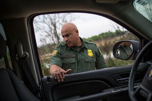 Border Patrol Agent José Perales outside of Roma, TX, on Mar. 8, 2016.