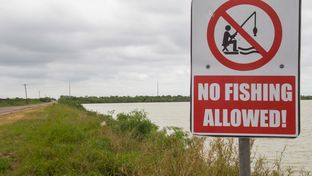 One of four warning signs posted next to polluted Donna Lake.