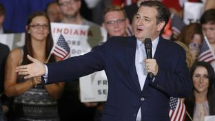 Republican U.S. presidential candidate and U.S. Sen. Ted Cruz speaks to supporters during his five state primary night rally in Knightstown, Indiana on