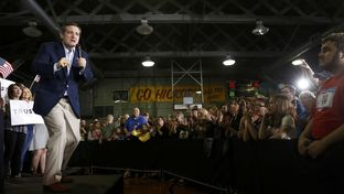 Republican U.S. presidential candidate Ted Cruz spoke on April 26, 2016, to supporters in Knightstown, Indiana, during a rally at the Hoosier Gym.