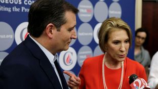 Republican U.S. presidential candidate Cruz is joined by former Republican candidate Fiorina at press conference after town hall  event at the Faith Assembly of God in Orlando,
