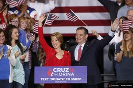 Republican U.S. presidential candidate Ted Cruz holds a campaign rally to announce Carly Fiorina as his running mate in Indianapolis, Indiana on April 27, 2016. REUTERS/Aaron Bernstein