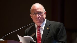 Sen. Bob Hall, R-Rockwall, hosts the Texas Grid Security Summit 2016 at the Texas Capitol in Austin on April 27, 2016. The session deals with how to make the power grid safer from electromagnetic radiation attacks nationwide.