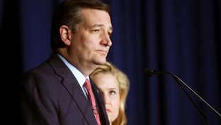 Republican U.S. presidential candidate Senator Ted Cruz drops out of the race for the 2016 Republican presidential nomination as his wife Heidi (R) looks on during his Indiana primary night rally in Indianapolis, Indiana, U.S., May 3, 2016.