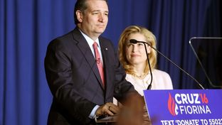 Republican U.S. presidential candidate Ted Cruz announces that he is dropping out of the 2016 race for the Republican presidential nomination as his wife Heidi looks on at his Indiana primary night rally in Indianapolis, Indiana on May 3, 2016.
