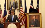 Former Gov. Rick Perry speaks at the unveiling ceremony for his official portrait at the Texas Capitol on May 6, 2016.