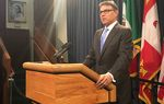 Former Texas Gov. Rick Perry spoke at a May 6, 2016, news conference at the state Capitol after the unveiling of his official portrait.